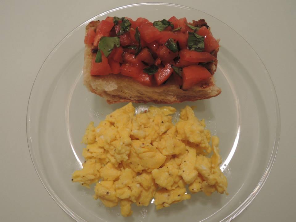 Scrambled Eggs with Tomato Bruschetta